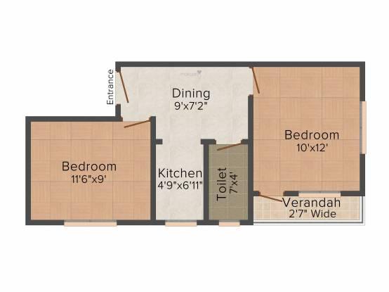 Northland Anandoloke Kunjaban (2BHK+2T (649 sq ft) Apartment 649 sq ft)