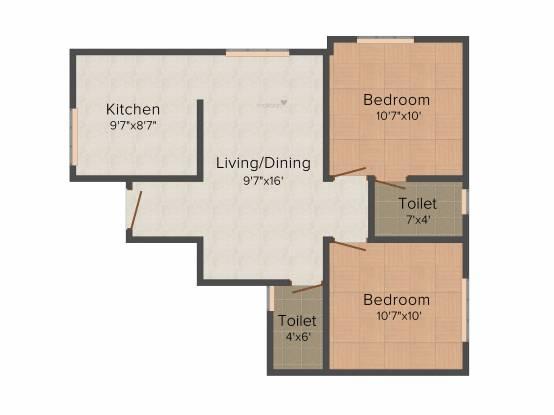 GP Elata (2BHK+2T (747 sq ft) Apartment 747 sq ft)