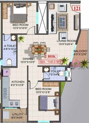 Sri Trinity Residency (2BHK+2T (1,140 sq ft) Apartment 1140 sq ft)