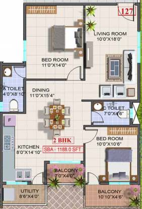 Sri Trinity Residency (2BHK+2T (1,188 sq ft) Apartment 1188 sq ft)