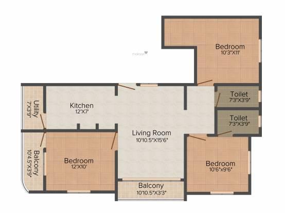 Minerva Sai Kasthuri (3BHK+2T (1,124 sq ft) Apartment 1124 sq ft)