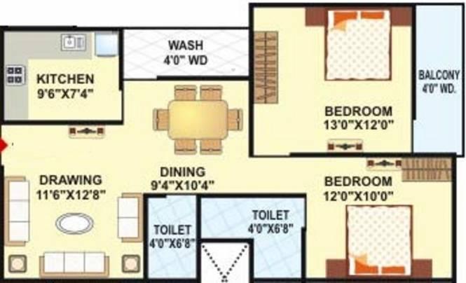 Landmark Radhe Regency (2BHK+2T (1,112 sq ft) Apartment 1112 sq ft)