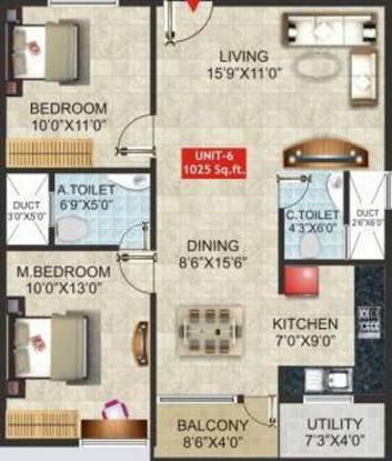 Dharani Nakshatra (2BHK+2T (1,025 sq ft) Apartment 1025 sq ft)