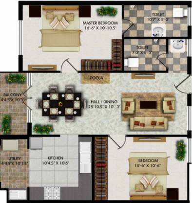 Right Mount Kailash and Manasarovar (2BHK+2T (1,335 sq ft) Apartment 1335 sq ft)
