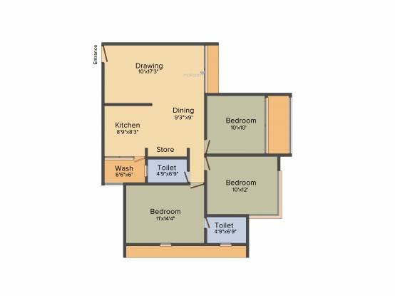 A Shridhar Kaveri Pratham (3BHK+2T (1,323 sq ft) Apartment 1323 sq ft)