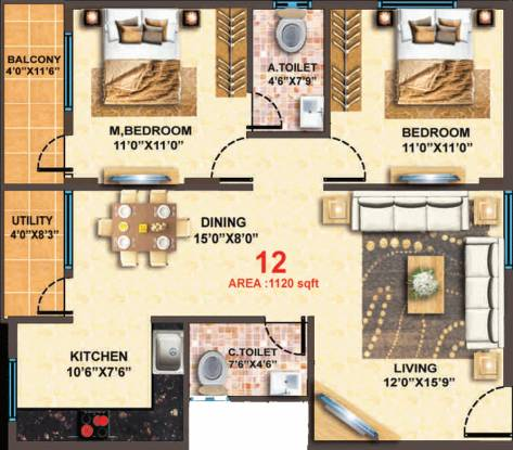 MBR Scapple (2BHK+2T (1,120 sq ft) Apartment 1120 sq ft)