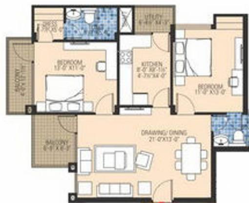 Ashadeep The Plam (2BHK+2T (1,286 sq ft) Apartment 1286 sq ft)