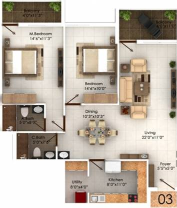 Marian Park (2BHK+2T (1,420 sq ft) Apartment 1420 sq ft)