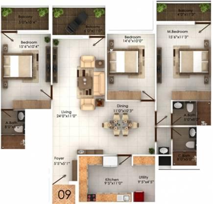 Marian Park (3BHK+3T (2,076 sq ft) Apartment 2076 sq ft)