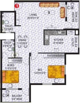 Vishwas Aloevera (2BHK+2T (1,210 sq ft) Apartment 1210 sq ft)