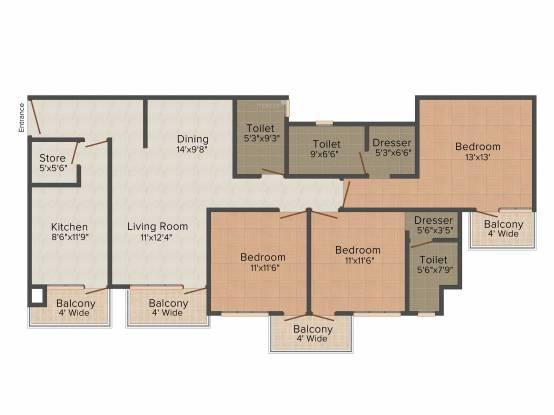 TDI Wellington Heights Extension (3BHK+3T (1,771 sq ft) Apartment 1771 sq ft)