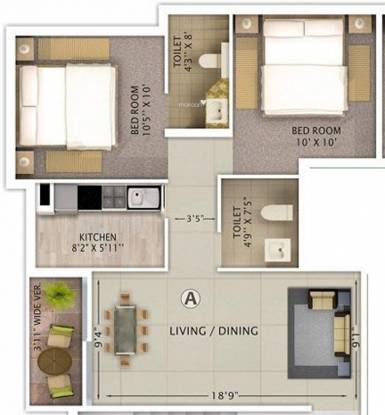 Rajwada Lake Bliss (2BHK+2T (910 sq ft) Apartment 910 sq ft)