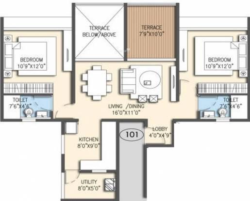 Goel Ganga Acropolis (2BHK+2T (1,192 sq ft) Apartment 1192 sq ft)