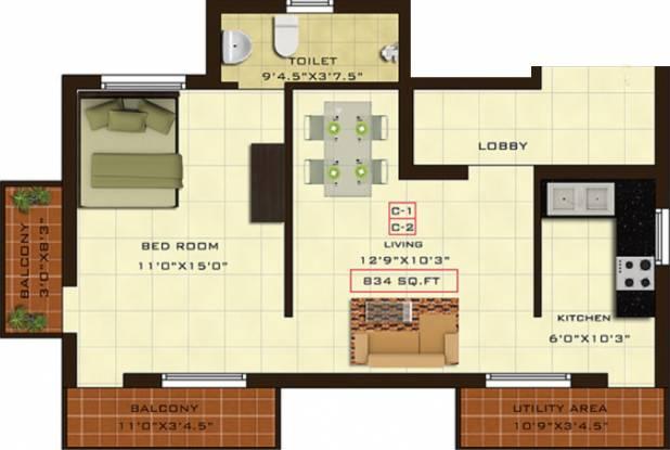 Fifth Xanadu (1BHK+1T (834 sq ft) Apartment 834 sq ft)
