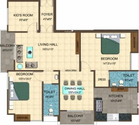 Fairyland Annora 1 (3BHK+2T (1,370 sq ft) Apartment 1370 sq ft)
