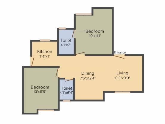 Guru Sri Dhanya (2BHK+2T (825 sq ft) Apartment 825 sq ft)