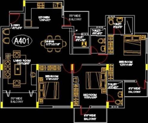 Damden Solarium (3BHK+3T (1,623 sq ft) Apartment 1623 sq ft)