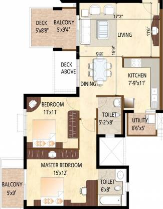 Purva Purva Scarlet Terraces (2BHK+2T (1,339 sq ft) Apartment 1339 sq ft)