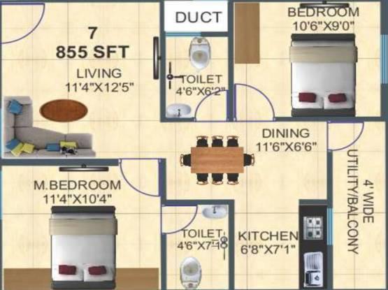 Ashirwaadh Sai Ashirwadh Paradise Block I (2BHK+2T (855 sq ft) Apartment 855 sq ft)