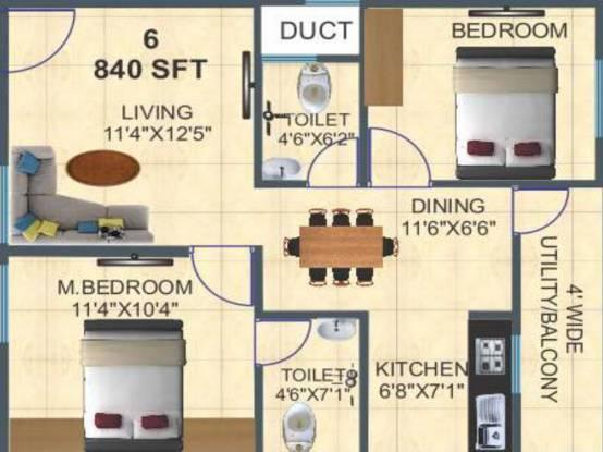 Ashirwaadh Sai Ashirwadh Paradise Block I (2BHK+2T (840 sq ft) Apartment 840 sq ft)