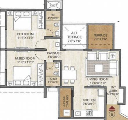 Pride Purple 115 Hill Town (2BHK+2T (1,035 sq ft) Apartment 1035 sq ft)