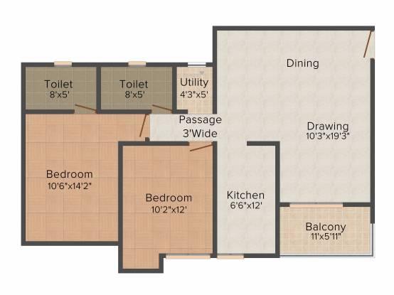 Ashiana Umang (2BHK+2T (1,175 sq ft) Apartment 1175 sq ft)