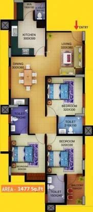 Sun Elecasa (3BHK+3T (1,477 sq ft) Apartment 1477 sq ft)