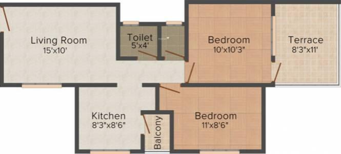 Vidarbha Hingna City (2BHK+1T (851 sq ft) Apartment 851 sq ft)