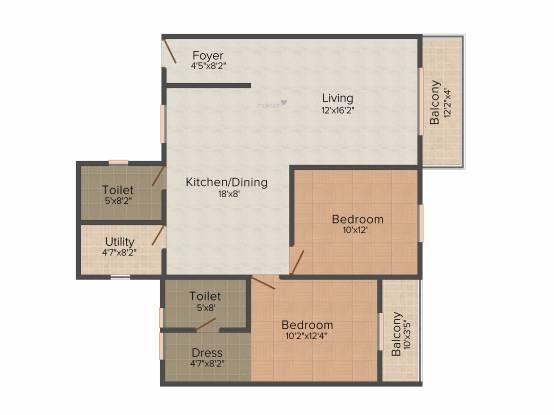 Prakruthi Enclave (2BHK+2T (1,052 sq ft) Apartment 1052 sq ft)