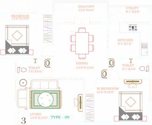 Bhanu Elegance (2BHK+2T (1,145 sq ft) Apartment 1145 sq ft)