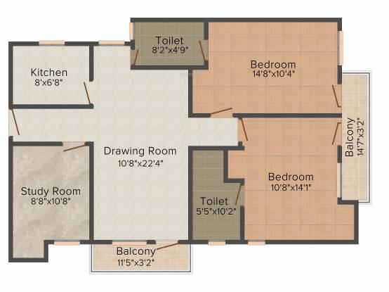 Prem Vihaan Heights (2BHK+2T (1,250 sq ft) + Study Room Apartment 1250 sq ft)