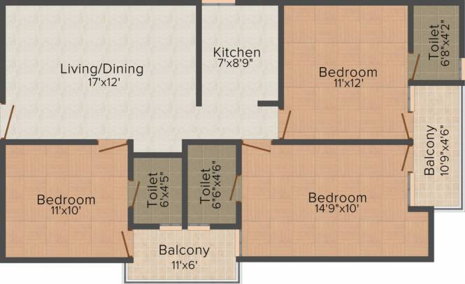 Balaji Awadh Apartment (3BHK+3T (1,200 sq ft) Apartment 1200 sq ft)