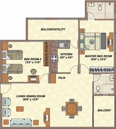 Daya Santara Magan Place II (2BHK+2T (1,332 sq ft) Apartment 1332 sq ft)