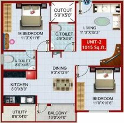 i1 SLR Comforts (2BHK+2T (1,015 sq ft) Apartment 1015 sq ft)