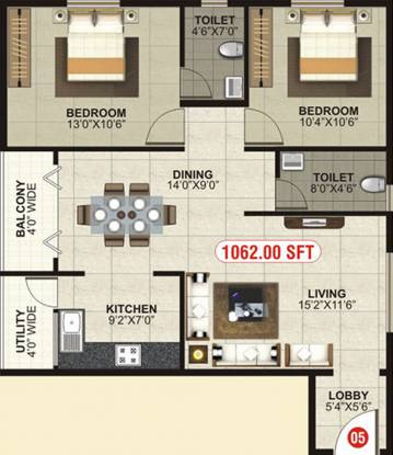 MBM Elegance (2BHK+2T (1,062 sq ft) Apartment 1062 sq ft)