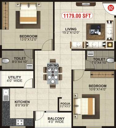 MBM Elegance (2BHK+2T (1,179 sq ft)   Pooja Room Apartment 1179 sq ft)