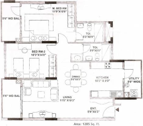 Mantri Tranquil (2BHK+2T (1,285 sq ft) Apartment 1285 sq ft)