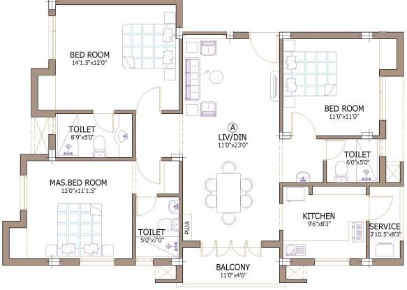 Firm Chinnas (3BHK+3T (1,410 sq ft) Apartment 1410 sq ft)