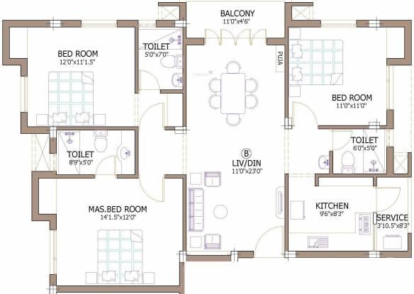 Firm Chinnas (3BHK+3T (2,820 sq ft) Apartment 2820 sq ft)