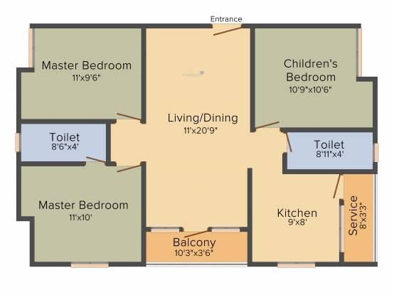 Golden Holborn (3BHK+2T (1,180 sq ft) Apartment 1180 sq ft)