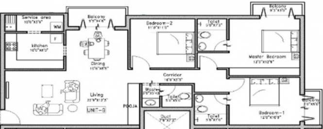GRCL Mahalakshmi (3BHK+3T (1,475 sq ft) Apartment 1475 sq ft)