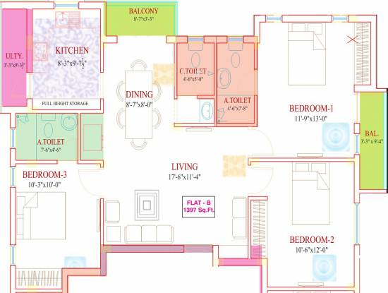 Roohi Sathyam (3BHK+3T (1,397 sq ft) Apartment 1397 sq ft)