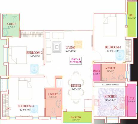 Roohi Sathyam (3BHK+3T (1,471 sq ft)   Pooja Room Apartment 1471 sq ft)
