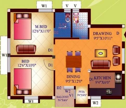 Prabhujee Enclave (2BHK+2T (950 sq ft) + Pooja Room Apartment 950 sq ft)