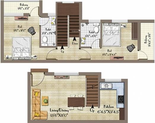 Annai Avantika Villas (2BHK+2T (940 sq ft) Villa 940 sq ft)
