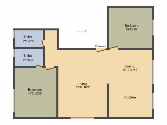 Arjun Vishwamukha (2BHK+2T (1,015 sq ft) Apartment 1015 sq ft)