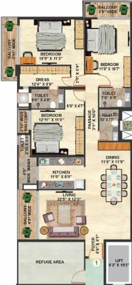 Nahar Tower Of Adyar (3BHK+3T (2,113 sq ft) Apartment 2113 sq ft)