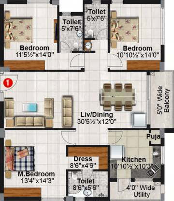 Ayyanna Pride (3BHK+3T (1,890 sq ft) + Pooja Room Apartment 1890 sq ft)