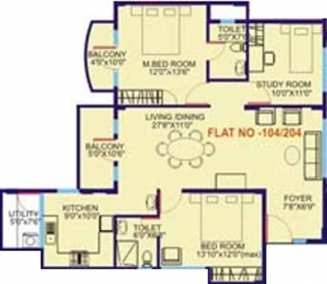Suraj Trinity Bloom (2BHK+2T (1,470 sq ft) + Study Room Apartment 1470 sq ft)