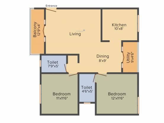 Neeladri Deo Bliss (2BHK+2T (1,090 sq ft) Apartment 1090 sq ft)